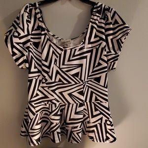 Black and White Peplum Blouse Top